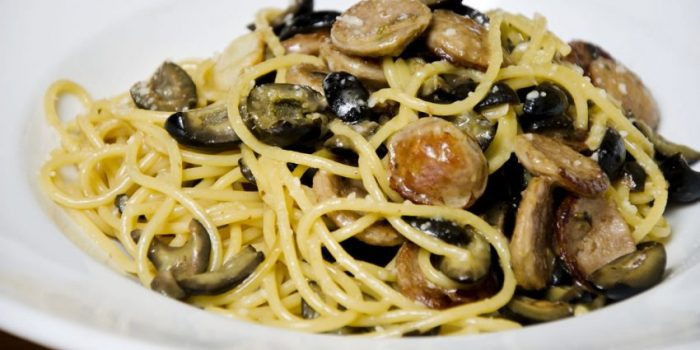 Recipe: Spaghetti with Sausages & Olives